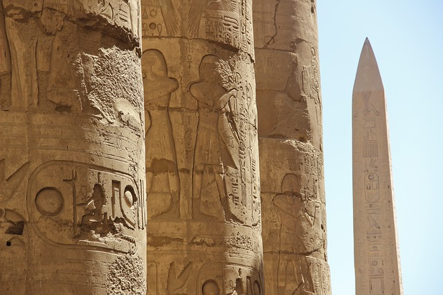 Egyptian columns at the ancient city of Luxor